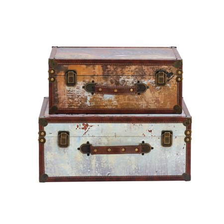 Orange Music Box - Decmode Eclectic 15 And 17 Inch Wood And Plastic Suitcases - Set of 2