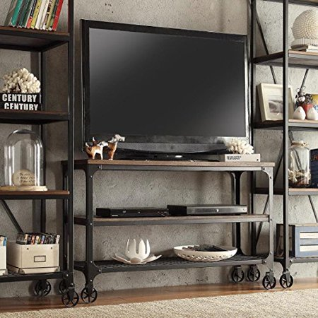 (ModHaus Living Modern Industrial Rustic Riveted Black Metal & Wood TV Stand with Decorative Wheels - Includes (TM) Pen (65))