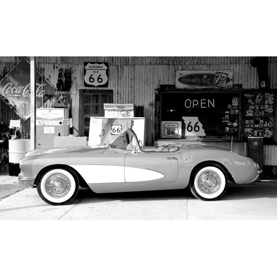 LAMINATED POSTER Oltimer Route 66 Supermarket Sports Car Corvette Poster  Print 24 x 36