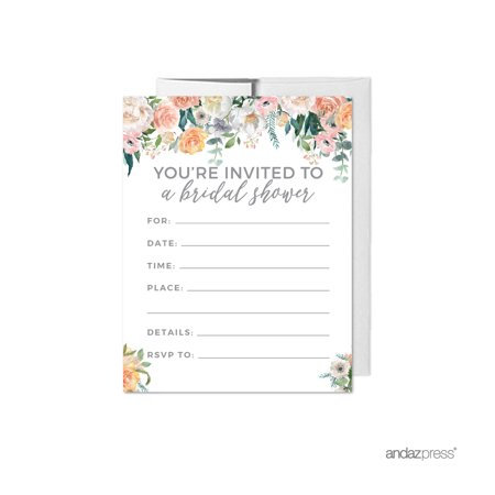 Peach coral floral garden party blank bridal shower invitations peach coral floral garden party blank bridal shower invitations with envelopes 20 pack filmwisefo