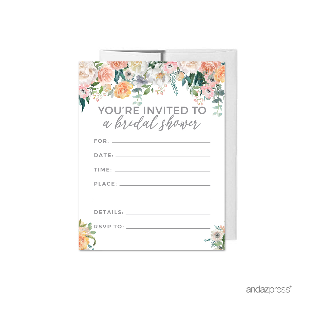 Peach Coral Floral Garden Party, Blank Bridal Shower Invitations with Envelopes, 20-Pack