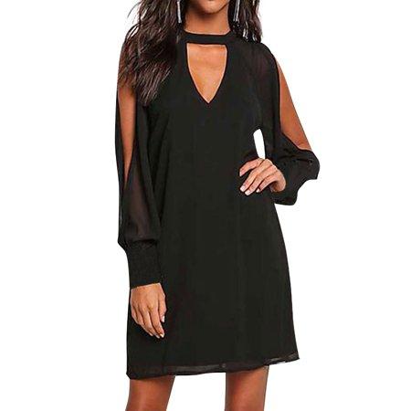 Nlife Women Long Sleeve Choker V Neck Cold Shoulder Shift Dress