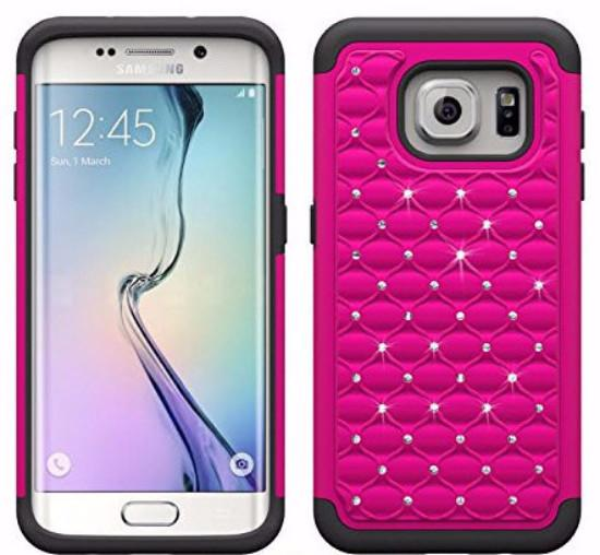 Hard PC with Soft RubberGalaxy S6Heavy Duty Dual Layer Hybrid Bling Diamond Defender Case Cover - Hot Pink/Black