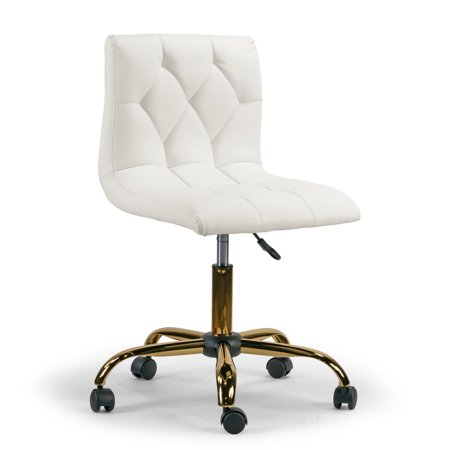 Swivel Chair Base (Aman Cream Upholstered Adjustable Height Swivel Office Chair with Golden Frame Wheel Base )