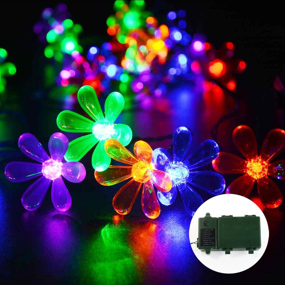 Qedertek LED Christmas Lights 30 LED 10.8ft Super Bright Battery Operated  Blossom String Lights With