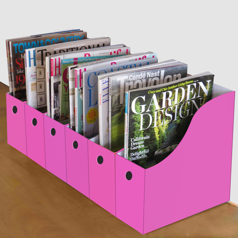 Evelots 6 Magazine/File Holders With Adhesive Labels