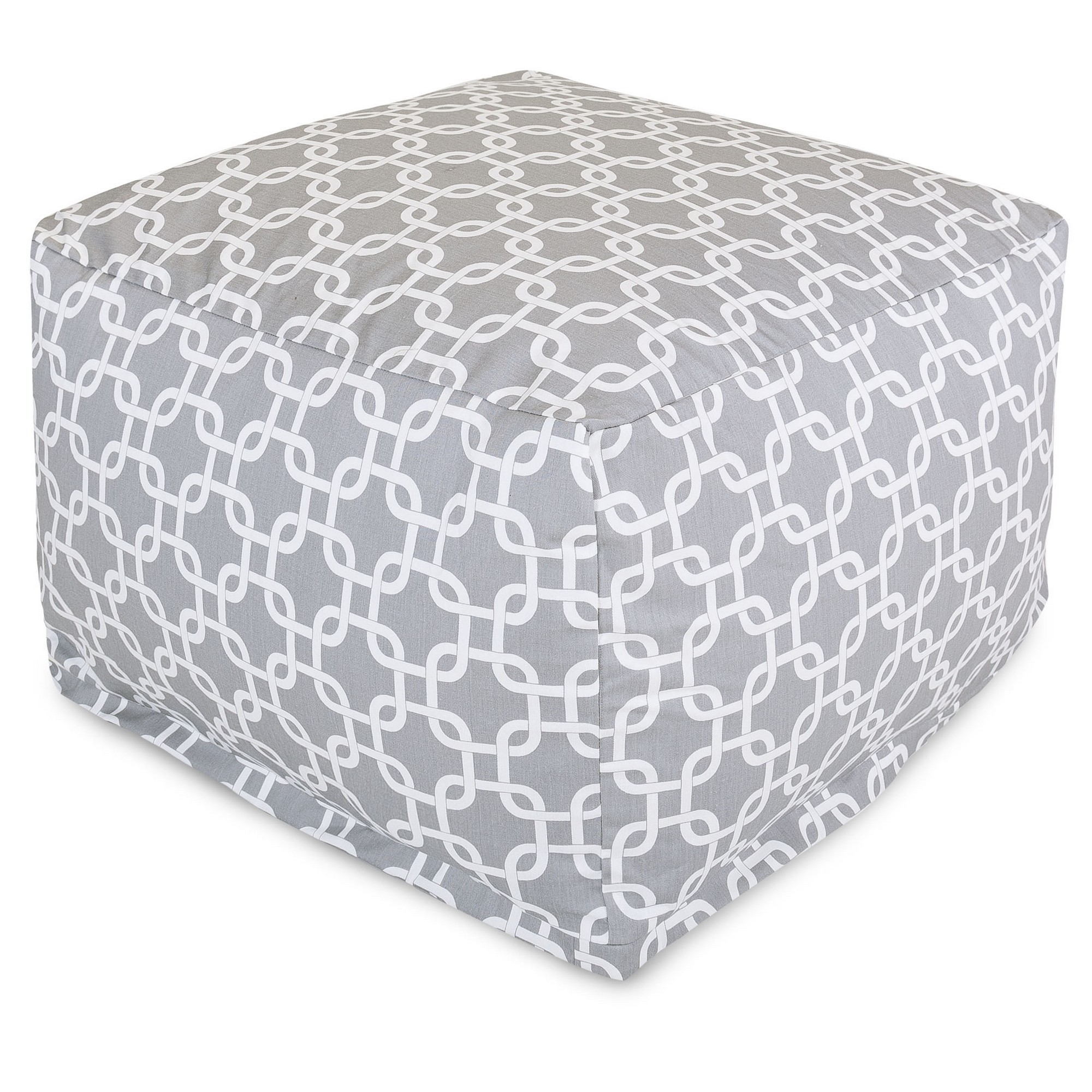 Majestic Home Goods Indoor Outdoor Treated Polyester Navy Links Ottoman Pouf
