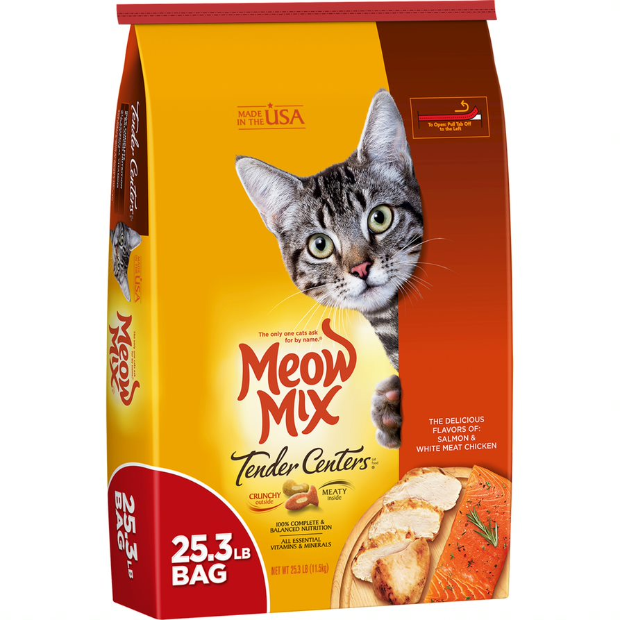 Meow Mix Tender Centers Salmon And White Meat Chicken Flavors Dry Cat Food, 25.3 lb