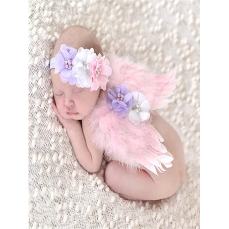 Baby Angel Feather Wings Wing Feather Photo Prop Girls Hair Accessories (Angel Wing Props)