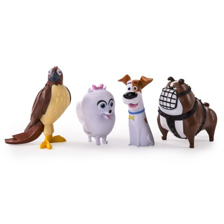 Sea Life Miniatures - Miniature 4 Pack of Pets from Illumination Movie Secret Life of Pets With Tiberius the Hawk, Max, Gidget & Boxer