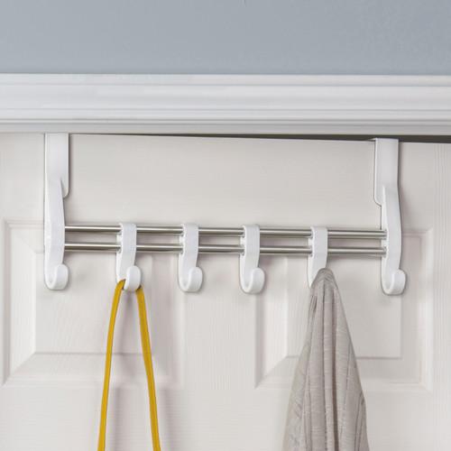 Lynk Over Door Adjustable Hook Accessory Organizer -Scarf, Belt, Hat, Jewelry Hanger - White