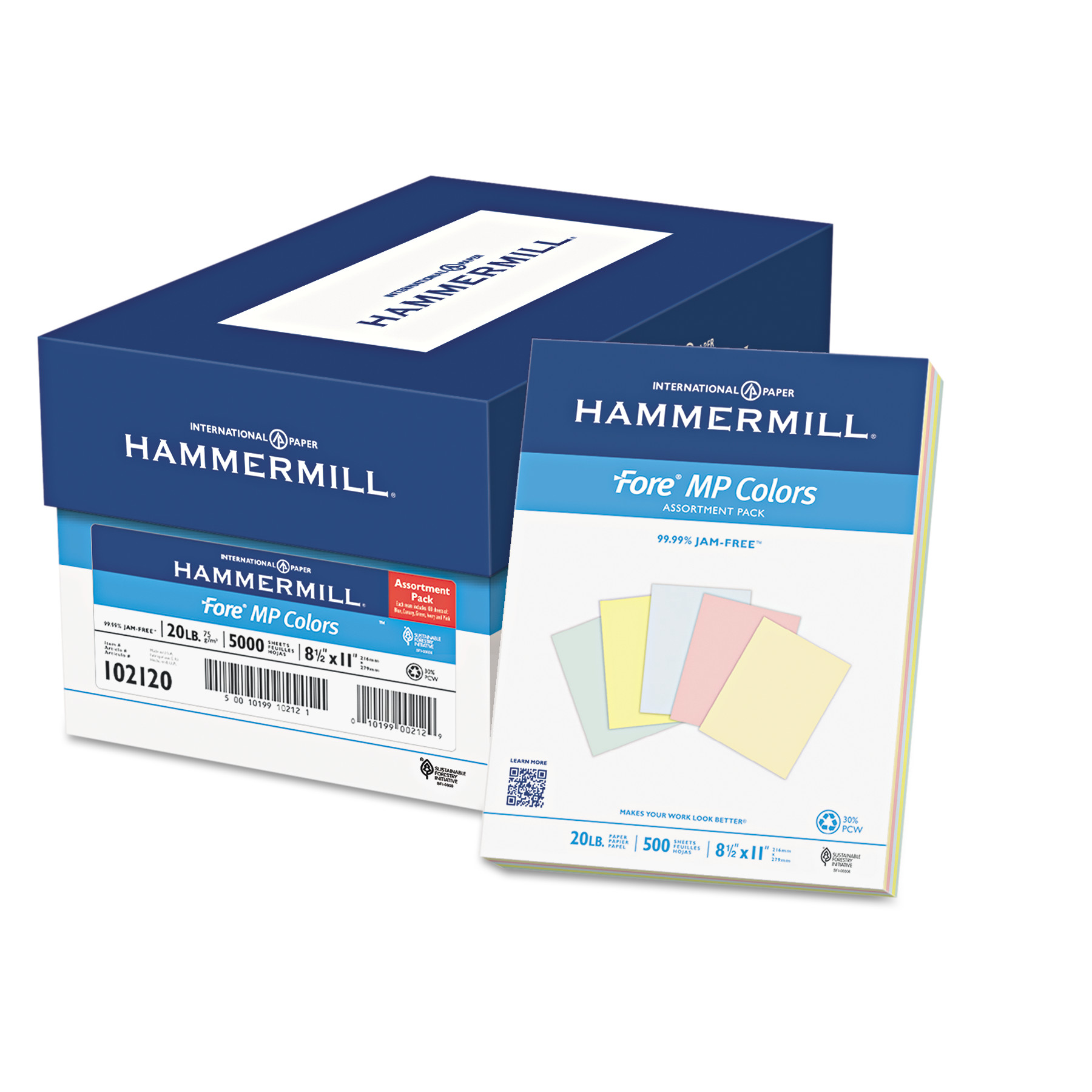 Hammermill Recycled Colors Paper, 20lb, 8-1/2 x 11, Assorted, 500 Sheets/Ream -HAM102120