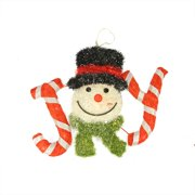 """21"""" Battery Operated LED Lighted Sisal & Tinsel """"Joy"""" with Snowman Head Hanging Christmas Decoration"""