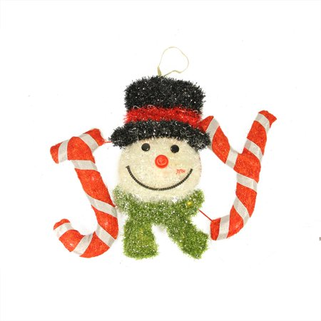 21 battery operated led lighted sisal tinsel joy with snowman head hanging - Hanging Lighted Christmas Decorations
