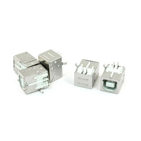 Unique Bargains 5 Pcs Shielded USB Type B Female Port PCB Mount Jack Connector