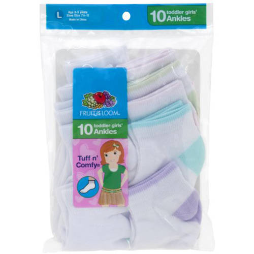 Fruit of the Loom Baby Girls' Tuff n' Comfy Ankle Socks 10-Pack