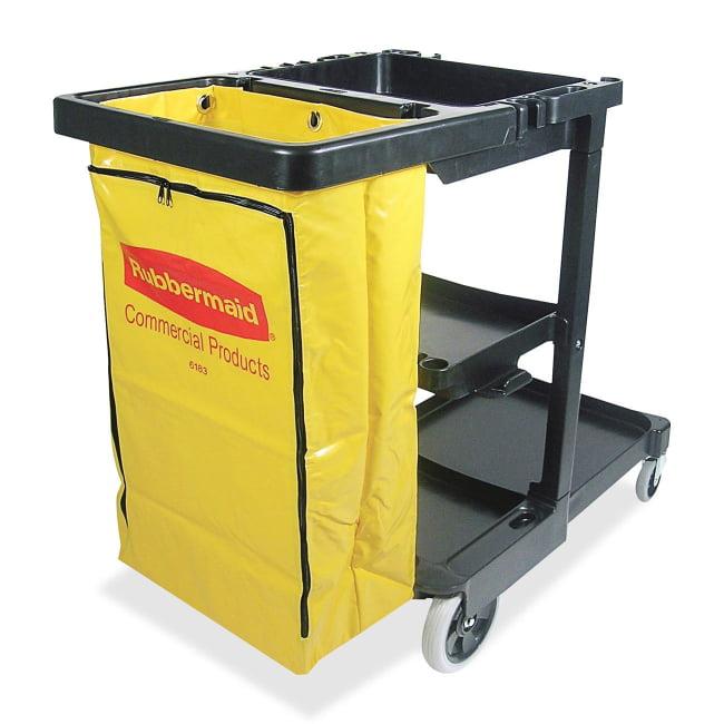 "Rubbermaid Janitor Cart With Zipper Yellow Vinyl Bag - 3 Shelf - 4"", 8"" Caster Size - 21.8"" Width x 46"" Depth x 38.4"" He"