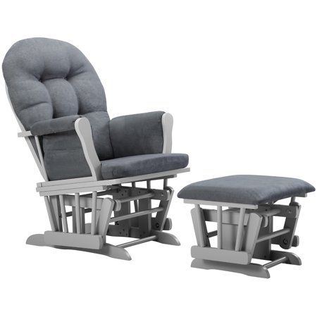 Angel Line Windsor Glider and Ottoman, Gray w/ Dark Gray Cushion