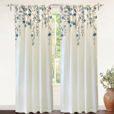 "DriftAway Isabella Embroidered Room Darkening Window Curtain, Embroidered Crafted Flower, Lined with Thermal Insulated Fabric, Single Panel, 50""x96"" (Ivory/Blue) ()"