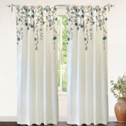 DriftAway Isabella Embroidered Room Darkening Window Curtain, Embroidered Crafted Flower, Lined with Thermal Insulated Fabric, Single Panel, 50?x96? (Ivory/Blue)