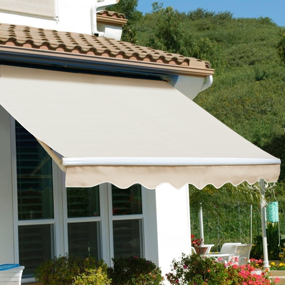 Patio Awning Sun Shade Canopy, Tan, Manual Retractable Deck UV Protection  10x8