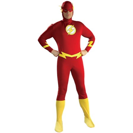 Morris Costumes Mens Flash Jumpsuit with attached boot tops, belt and headpiece Costume, Medium, Style RU16907MD (Flash Costume Men)