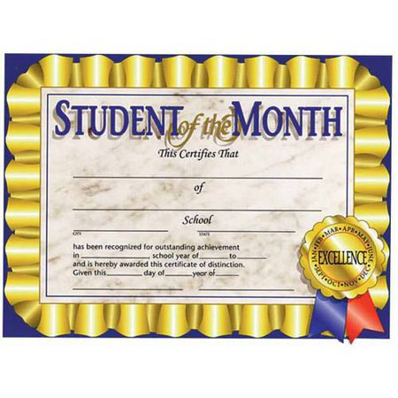 Hayes Student of The Month Certificate, 8.5