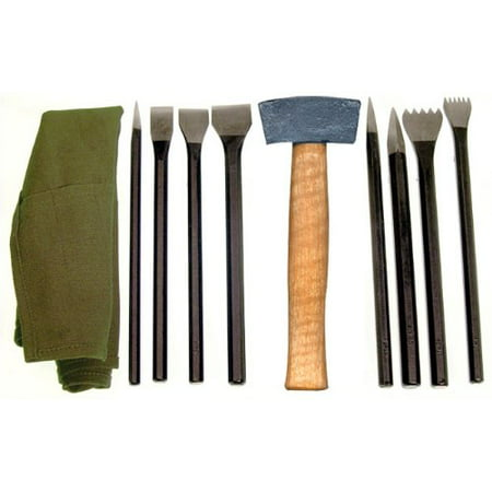 National Artcraft Stone Carving Set Has 9 Tools in A Convenient Roll-Up Pouch ()