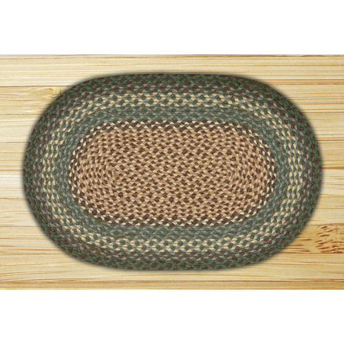 Earth Rugs Dark Green Braided Area Rug