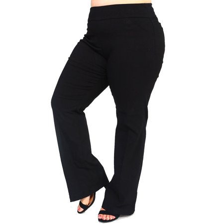 Womens Plus Size Solid Bell Bottoms Pull up Pleated Pants MVL124742-XL-Black - Plus Size Bell Bottoms