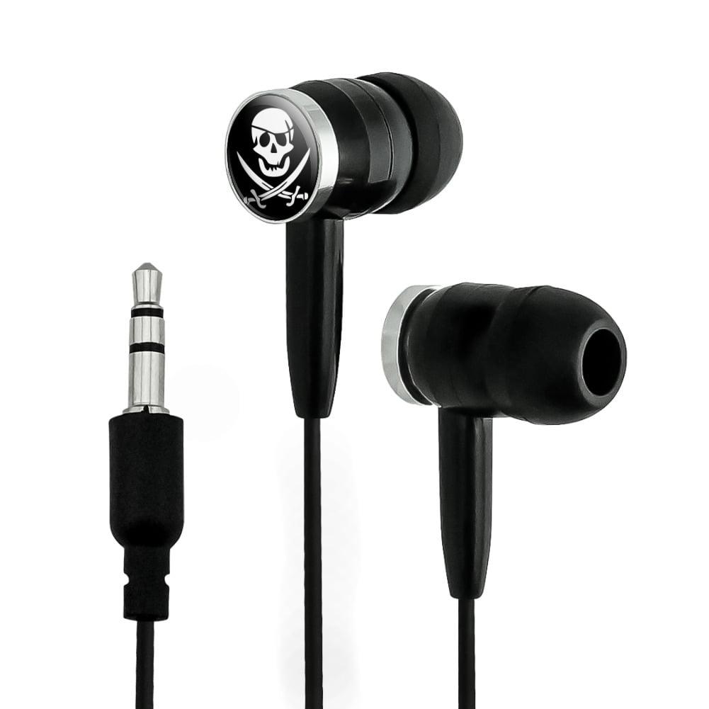 Pirate Skull Crossed Swords Jolly Roger Novelty In-Ear Earbud Headphones
