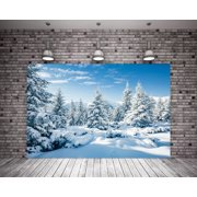 MOHome Polyester Fabric 7X5ft White Snow Winter Backgrounds Foerst Nature Scenery Photography Backdrop Photo Backdrop