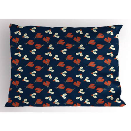 Firefly Pillow Sham, Vibrant Winged Spiritual Spring Animals Flying Botanical Insect Theme, Decorative Standard Size Printed Pillowcase, 26 X 20 Inches, Night Blue Scarlet Cream, by - Firefly Insect