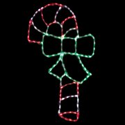 57 in. Outdoor LED Candy Cane with Bow Display - 150 Bulbs