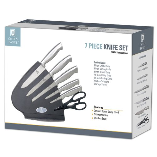 Chefs Basic Select 6pcs Knives and Scissor Set in Classic Stand