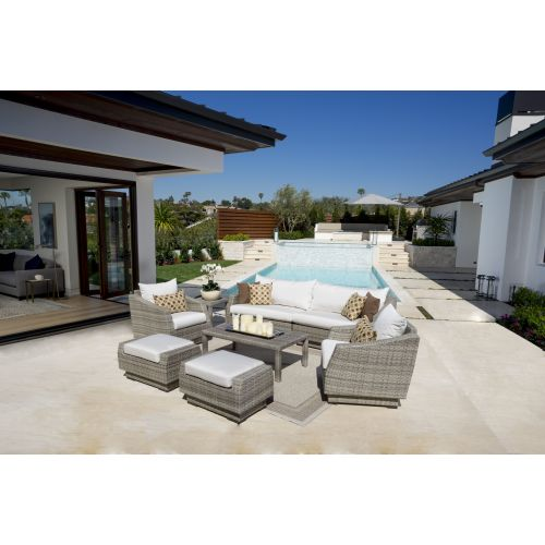 RST Brands Cannes 8pc Sofa and Club Chair Set Delano Beige Cannes 8pc Outdoor Ch