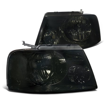 Lumina Euro Headlights - Spec-D Tuning For 2004-2008 Ford F150 Euro Style Headlights Smoke Pair W/ Clear Reflector 2004 2005 2006 2007 2008 (Left+Right)