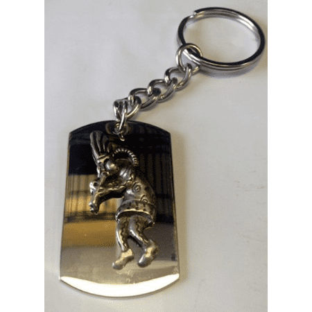 - Kokopelli Rasta Music Pewter Metal Emblem - Metal Ring Key Chain