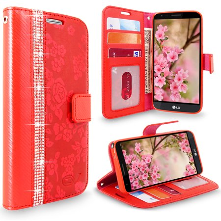 LG Stylo 3 Case, Cellularvilla [Diamond] Embossed Flower Design Premium PU Leather Wallet Case [Card Slots] [Stand Feature] Folio Flip Cover For LG Stylo 3 Plus / LG Stylus 3 LS777 ()
