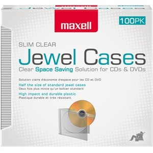 Maxell Jewel Cases Slim Line - Clear (100 Pack) - Jewel Case - Clear