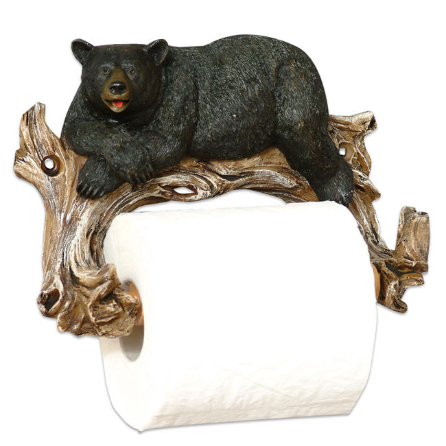 Relaxing Bear Toilet Paper Rustic Holder Rustic Bath Accessories by