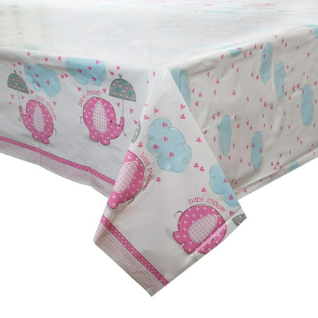 Pink Elephant Baby Shower Plastic Party Tablecloth, 84 x 54in](Pink Elephant Themed Baby Shower)