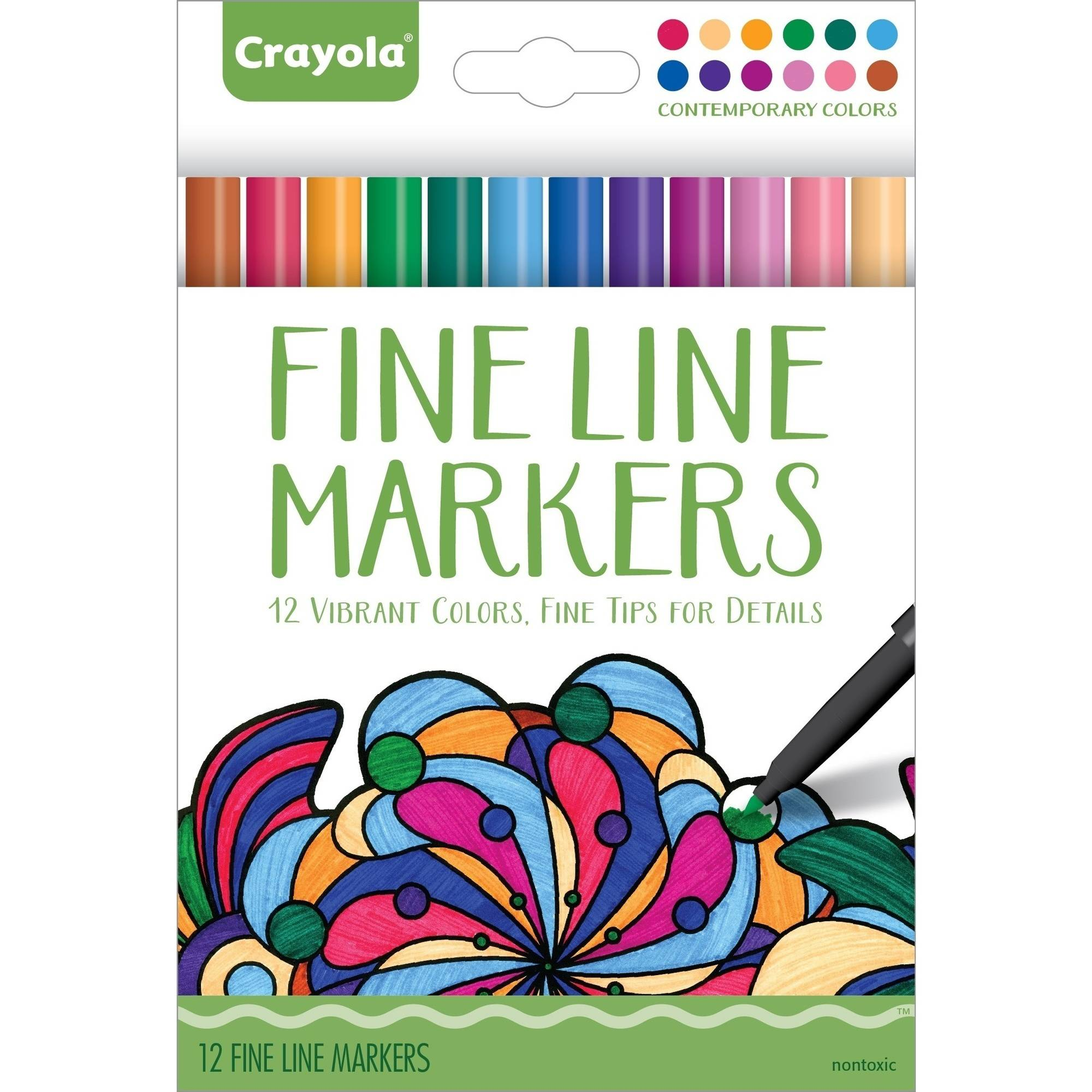 Crayola 12ct Fineline Contemporary Aged Up Markers