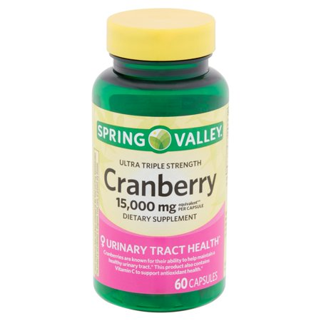 Triple Strength Natural Cranberry - Spring Valley Ultra Triple Strength Cranberry Capsules, 15,000 mg, 60 count