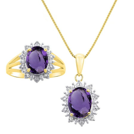 Birthstone Ring Pendants (Princess Diana Inspired Halo Diamond & Amethyst Matching Pendant Necklace and Ring Set In Yellow Gold Plated Silver .925 with 18