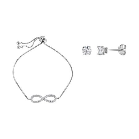 Sterling Silver Rhodium Plated White Cubic Zirconia Infinity Bolo Bracelet And Stud Earrings -