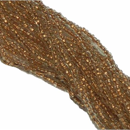 Crystal Clear Copper Lined Czech 8/0 Glass Seed, Loose Beads, 12 Strand Hank Preciosa