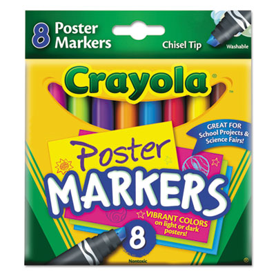 Washable Poster Markers, Assorted, 8/Pack, Sold as 1 Set, 8 Each per Set