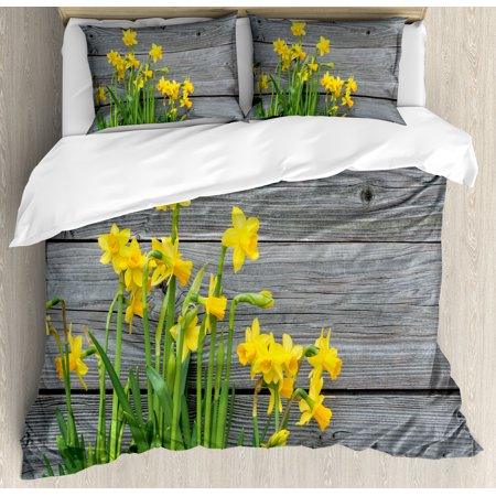 Yellow Flower Duvet Cover Set, Bouquet of Daffodils on Wood Planks Gardening Rustic Country Life Theme, Decorative Bedding Set with Pillow Shams, Yellow Grey, by Ambesonne ()