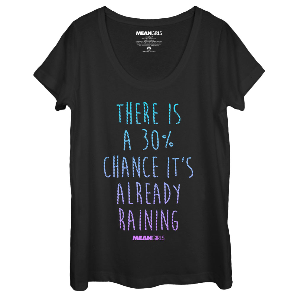 Mean Girls There's a Chance It's Already Raining Womens Graphic Scoop Neck